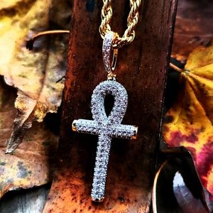 14k GP Iced Lab Diamond Ankh Necklace